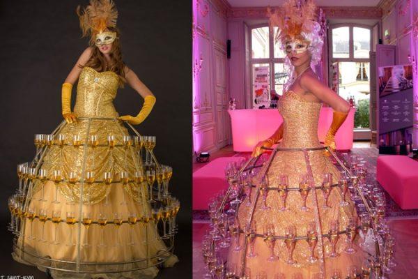 Animation déambulatoire origniale: robe de champagne - Paris et Normandie